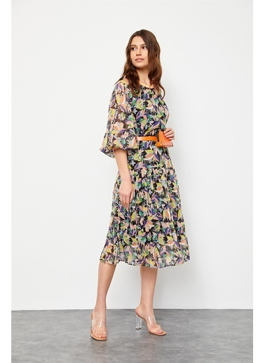Setre Oranj Floral Desen Çantalı Elbise Oranj